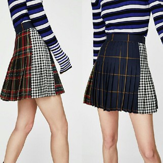 ザラ(ZARA)のZARA タグ付き 安室さんコス用 チェック柄 スカート(ミニスカート)