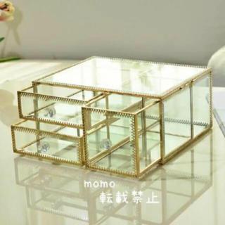ガラス製♡アクセサリー収納♡ケース♡ボックス♡ゴールド♡コスメボックス♡小物入れ