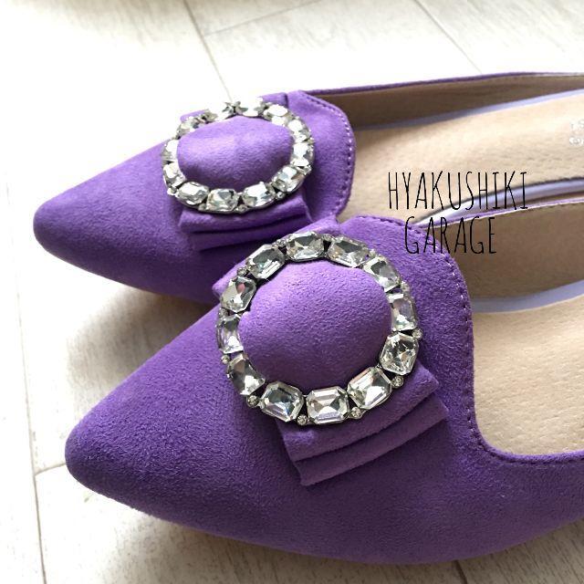 送料無料 26.5センチ ビジュー付き パープル パンプス風 サンダル レディースの靴/シューズ(サンダル)の商品写真