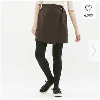 ジーユー(GU)のgu ミニ スカート スウェード ブラウン M 美品 送料無料(ミニスカート)