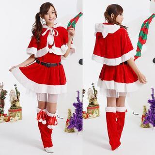 サンタ衣装 猫耳付 コスチューム レディース フリーサイズ(セット/コーデ)