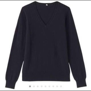 MUJI (無印良品) - 【新品】無印良品 カシミヤVネックセーター ダークネイビー