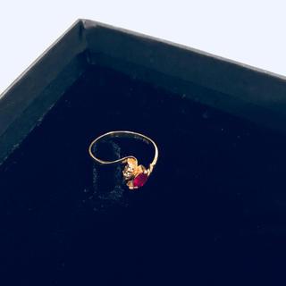 1.ルビー k18刻印 18金リング k18リング ゴールド 鑑定済み 10号(リング(指輪))