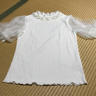 アクシーズファム(axes femme)のaxes femme 袖チュール 半袖トップス(カットソー(半袖/袖なし))