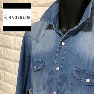 レイジブルー(RAGEBLUE)のRAGEBLUE ヴィンテージウォッシュ加工 シャンブレーウエスタンシャツ(シャツ)