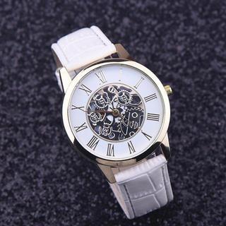 【新品】レディース メンズ革腕時計 歯車 スケルトン クォーツ(腕時計)