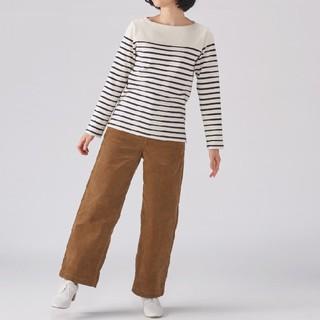 ★最新★無印良品 太番手パネルボーダー長袖Tシャツ/生成×ネイビー/L
