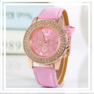 MB010 送料無料♪☆ピンク*ゴールドビジュー時計 レディエミリアウィズ(腕時計)
