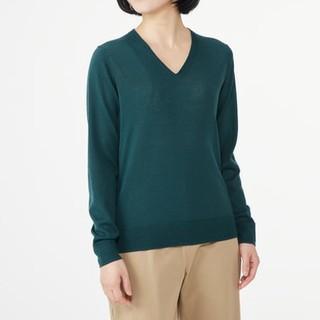 MUJI (無印良品) - ◆最新◆新品◆無印良品ウールシルク洗えるVネックセーター/グリーン/M