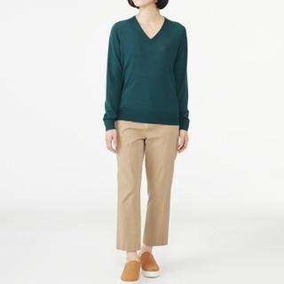 ◆最新◆新品◆無印良品ウールシルク洗えるVネックセーター/グリーン/L