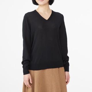 MUJI (無印良品) - ◆最新◆新品◆無印良品ウールシルク洗えるVネックセーター/黒/M