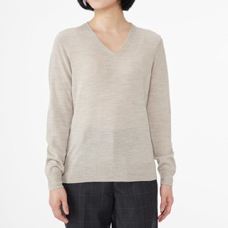 MUJI (無印良品) - ◆最新◆新品◆無印良品ウールシルク洗えるVネックセーター/オートミール/M