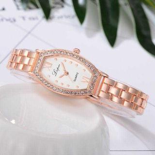 MC096 ラウンドスクエア クラシカルウォッチ ピンクゴールド×白(腕時計)