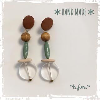 トゥデイフル(TODAYFUL)の* Marble Beads Wood Pierce *(ピアス)