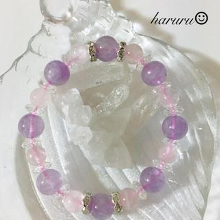 ⚜️【天然石】ラベンダーアメジスト ローズクォーツ⚜️恋愛運アップ✨(ブレスレット/バングル)