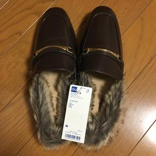 ジーユー(GU)の★なお様専用★ジーユー フェイクファーローファースリッパ Mサイズ(ローファー/革靴)
