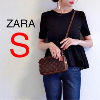 ZARA - 新品!ZARA フリル付きトップス ブラック 黒 半袖 完売品