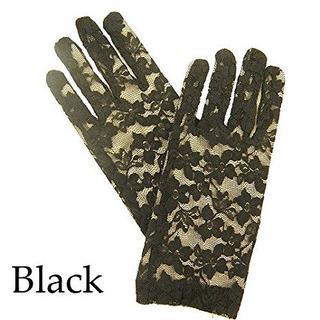 パーティーフォーマルウエディングレースショートグローブ手袋ブラック黒結婚式(手袋)