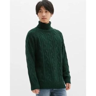 GU - GU ニット シャギーケーブルタートルネックセーター