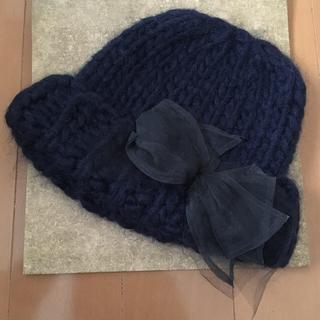 CA4LA - カシラ❤︎シンデレラニット リボン付きニット帽 ネイビー❤︎チュール リボン