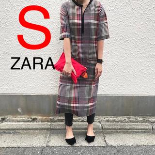 ZARA - ZARA チェック柄 チェック ワンピース 赤 スカート