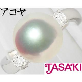 タサキ(TASAKI)のタサキ 田崎真珠 アコヤ真珠 8ミリ ダイヤ Pt プラチナ リング 指輪 4号(リング(指輪))