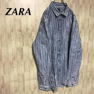 ザラ(ZARA)の美品 ZARA ダメージストライプ メンズ シャツ 大きいサイズ(シャツ)