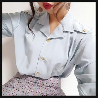 値下げ可♥*ゆるふわお花ボタンオーバーシャツ♥*(シャツ/ブラウス(長袖/七分))