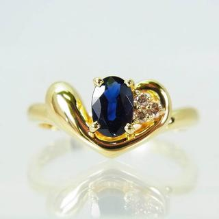 K18 サファイア ダイヤモンド リング 10号 [f265-5] (リング(指輪))