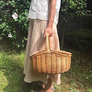 柳かご ピクニックバスケット 蓋付きかご 運動会 パン教室かご 収納 野菜かご