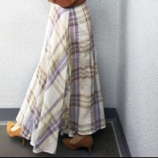 ZARA - チェックフレアロングスカート