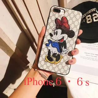 ディズニー(Disney)のiPhone6•6s兼用ケース   ミニーちゃん  刺繍   新品(iPhoneケース)
