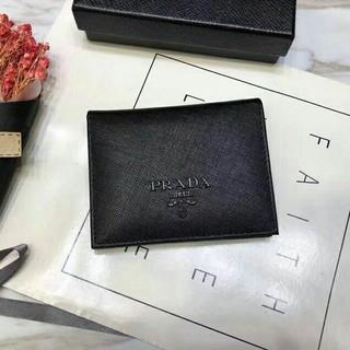 PRADA - 新品 PRADA プラダ二つ折り ウォレット ユニセックス 財布 ブラック