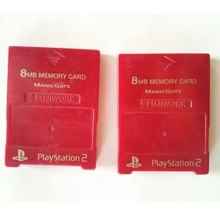 プレイステーション2(PlayStation2)の2個セット 互換 PS2用メモリーカード フジワークス レッド(家庭用ゲーム本体)