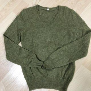 ムジルシリョウヒン(MUJI (無印良品))の無印良品 カシミヤVセーター カーキ S(ニット/セーター)