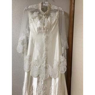ボレロ付きウェディングドレス約13号トレーン別付きAラインクリーム色