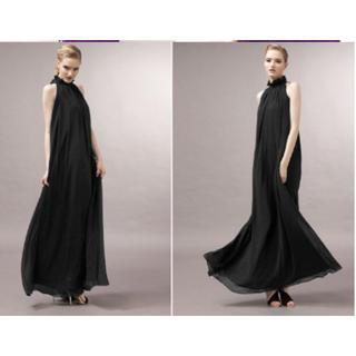 黒 シフォン リボン ロング ドレス ワンピース キャバドレス 結婚式