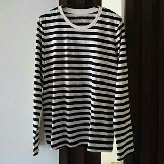 MUJI (無印良品) - 昨季美品★無印良品 ボーダーTシャツカットソー 長袖 黒×オフホワイト M