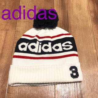 adidas - ☆美品☆ アディダス ニット帽 白 紺 フリーサイズ
