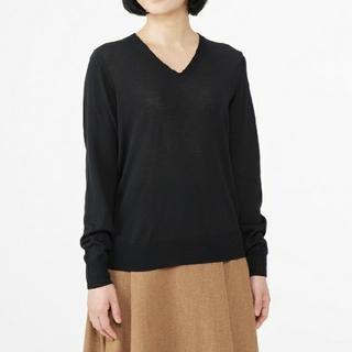 MUJI (無印良品) - ◆最新◆新品◆無印良品ウールシルク洗えるVネックセーター/黒/L