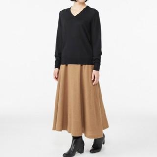 MUJI (無印良品) - ★最新★新品★ 無印良品ウールシルク洗えるVネックセーター/黒/L