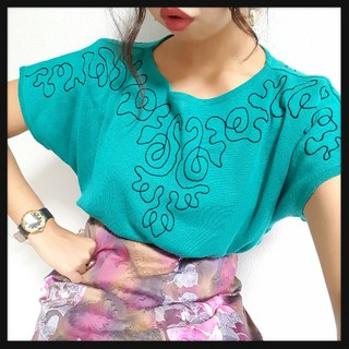 売りきりSALE//Vintage刺繍のエメラルドニット♥(ニット/セーター)