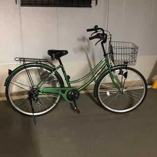 26インチ  ママチャリ  6段変速  グリーン  美品(自転車本体)