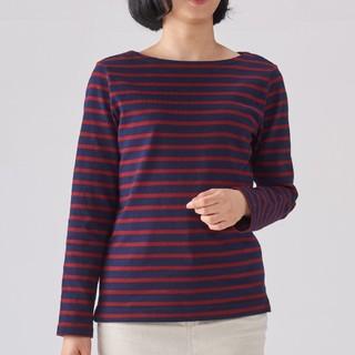 ★最新★無印良品 太番手パネルボーダー長袖Tシャツ/ネイビー×赤/L