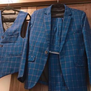 お洒落 ブルースーツ セットアップ 3点セット(セットアップ)