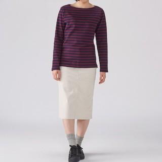 ★最新★無印良品 太番手パネルボーダー長袖Tシャツ/ネイビー×赤/M