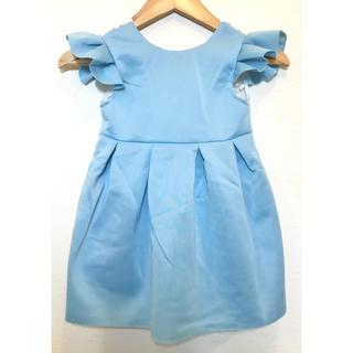 ブルー 背中 水色 レース背中開き ワンピース  ドレス(ワンピース)