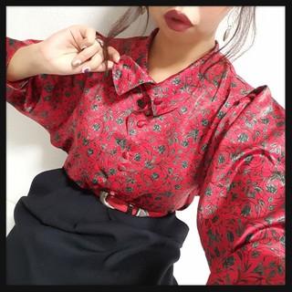 値下げ可♥*ハイネック薔薇柄サテンブラウス♥(シャツ/ブラウス(長袖/七分))