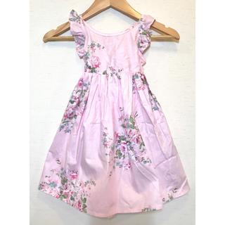 ローラアシュレイ(LAURA ASHLEY)のローラアシュレイ風 ピンク バラ 花柄 エプロン型 ワンピース  ドレス(ワンピース)