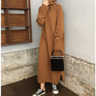 dholic - 全2色 ニットワンピース 羽織り ログ丈 カットソー 韓国風 カットソー
